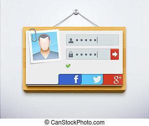 login screen concept - Vector illustration of login screen...