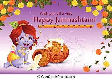 Lord Krishna stealing makhaan in Happy Janmashtami - vector...