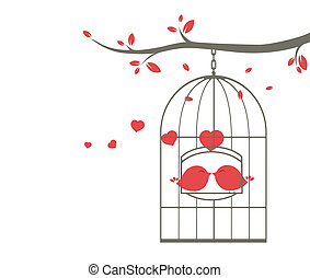 Love birds on the cage - Vector Illustration of Love birds...