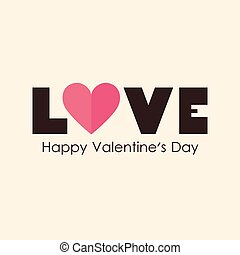 Vector illustration of love text for Valentines day card