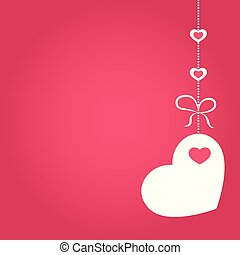 Vector illustration of love, wedding or Valentine Day banner with decoration in form of heart hanging on ribbon.