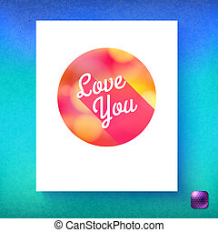 Vector illustration of Love you blank card template