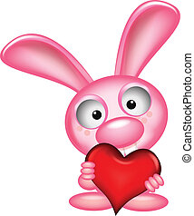 lovely rabbit holds love heart - vector illustration of...
