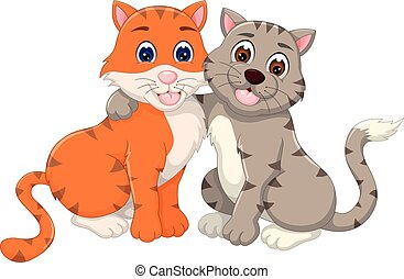 loving cat couple cartoon sitting with hugging and smile