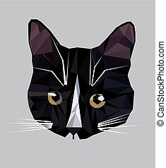 Vector illustration of low poly cat icon.