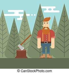 Vector illustration of lumberjack in the wood.