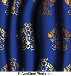 blue material with gold pattern
