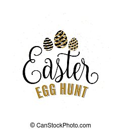 Vector illustration of luxury happy easter egg hunt with...