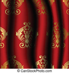 luxury red material with gold patte