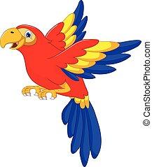 macaw bird cartoon flying