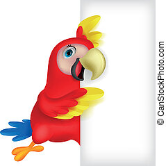 Macaw bird cartoon with blank sign