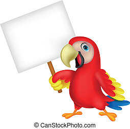 Vector illustration of Macaw bird cartoon with blank sign