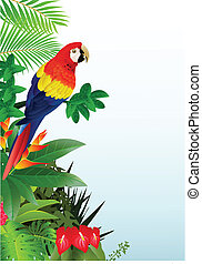 Macaw bird in the tropical forest - Vector Illustration Of...