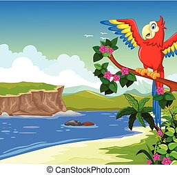 macaw bird with lake background