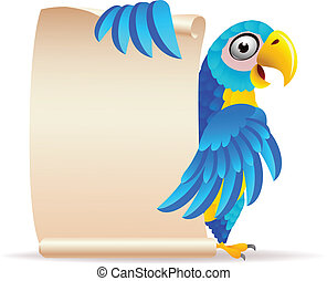 Macaw bird with scroll paper - Vector illustration of Macaw...
