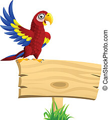Macaw with blank signboard