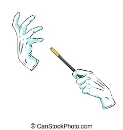 magician hands in gloves with a magic wand