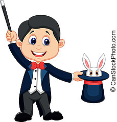 Magician pulling out a rabbit from - Vector illustration of ...
