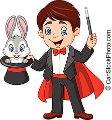 Magician pulling out a rabbit from his top hat - Vector...