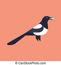 Vector illustration of magpie holding diamond