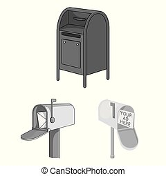 Vector illustration of mailbox and letter symbol. Set of mailbox and mail stock vector illustration.