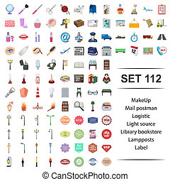Vector illustration of make up, mail, postman, logistic, light source library bookstore lamppost label icon set.