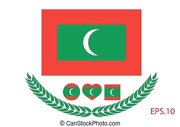 Vector illustration of Maldives flag. Eps 10
