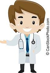 Male Kid wearing a Doctor Uniform