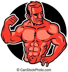 Body Builder - Vector Illustration of Male Muscular Body...