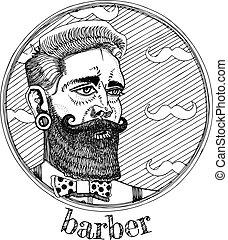 Vector illustration of male portrait profession barber.