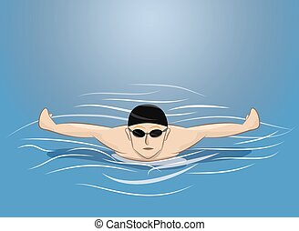 vector illustration of male swimmer swimming butterfly stroke in pool