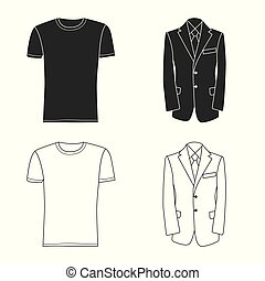 Vector illustration of man and clothing symbol. Set of man and wear stock vector illustration.