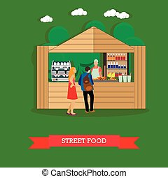 Vector illustration of man and woman near street food stall