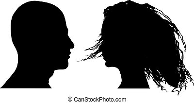 Vector illustration of man and woman faces