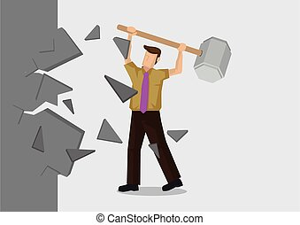Vector Illustration of man breaking down the wall. Concept ...