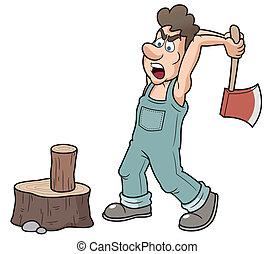 Vector illustration of Man chopping wood