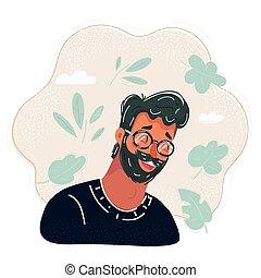 Vector illustration of Man face avatar.
