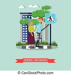 Vector illustration of man helping elderly woman to cross street.