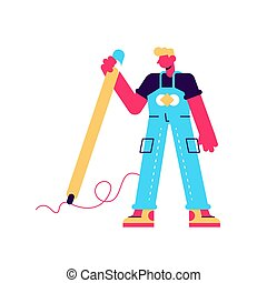 Vector illustration of man hold big pencil and drawing