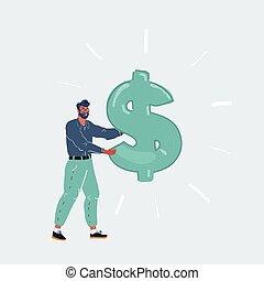 Vector illustration of man holding a dollar sign on white backroud.