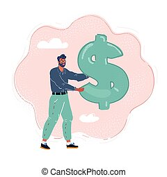 Vector illustration of man holding a giant dollar sight in his hand.