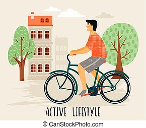 Vector illustration of man on a bicycle. Healthy lifestyle.