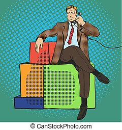 Vector illustration of man sitting on gift, talking over phone
