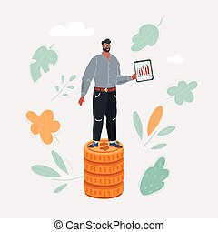 Vector illustration of man stand on stack on money coin. Business idea, invest conceptl