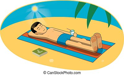 Vector illustration of man sunbathing on the beach