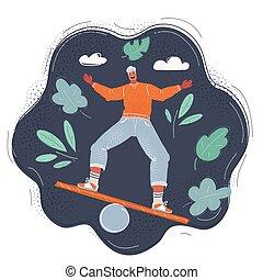 Cartoon vector illustration of man try to balance himself on dark background.