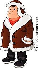 man wear winter clothes - vector illustration of man wear ...