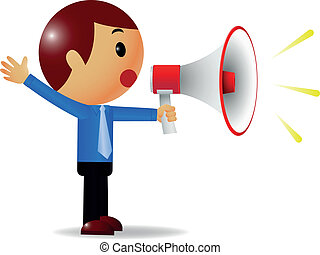 Man with megaphone - Vector illustration of Man with...