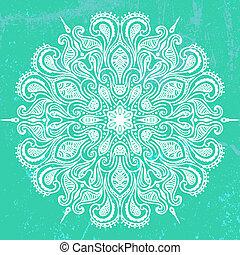 Vector illustration of mandala design in white on aqua green...