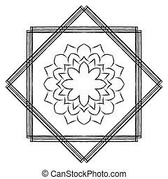 vector illustration of mandala in square frame